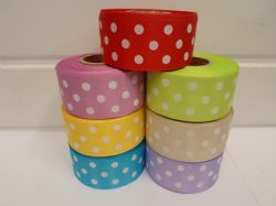 2 or 20 metres x 38mm polka dot satin ribbon